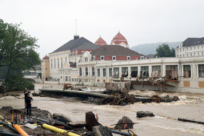 Het centrum van het zwaar getroffen Bad Neuenahr-Ahrweiler na de vloedgolf.