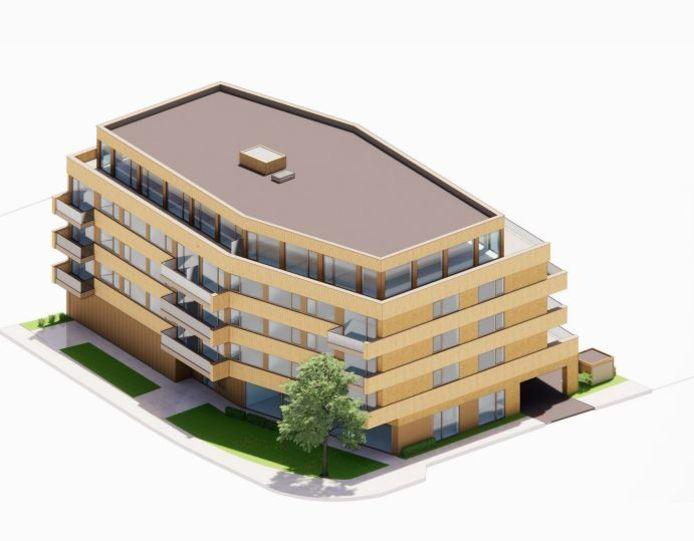 Impressie van het okerkleurige appartementencomplex De Harmonie in Naaldwijk.