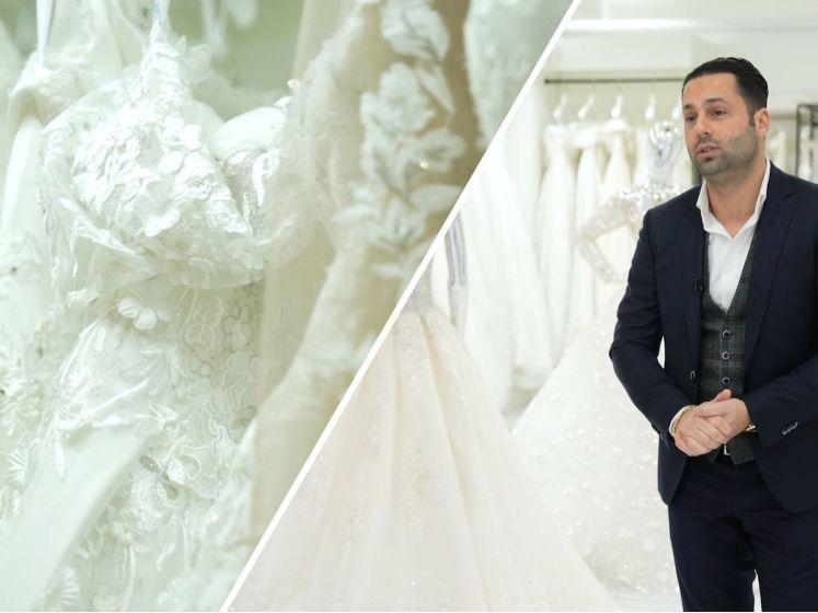 Hier hangen tientallen bruidsjurken te wachten tot bruiloften weer door kunnen gaan