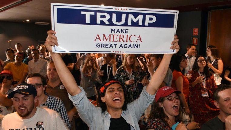 Euforie bij Trump-aanhangers. Beeld anp
