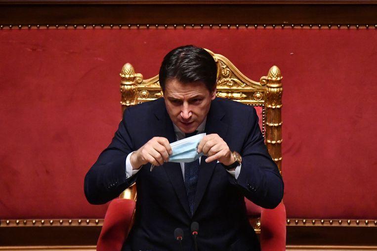 Premier Giuseppe Conte spreekt de Senaat toe. Beeld EPA