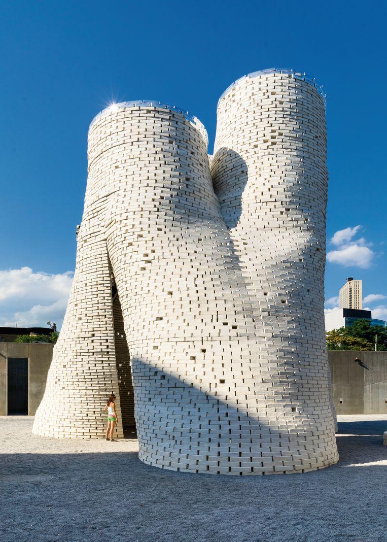 De torens bij het Museum of Modern Art in New York zijn gebouwd met een materiaal waaraan mycelium is toegevoegd. Beeld foto David Benjamin - The Living Studio / KNNV Uitgeverij