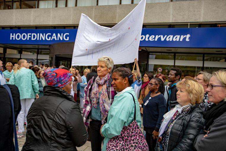 Medewerkers van het Medisch Centrum Slotervaart in Amsterdam voeren actie Beeld ANP