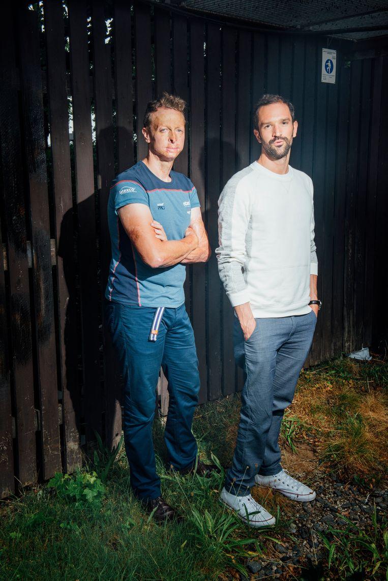 Paralympiërs Sven Decaestecker en Diederick Schelfhout. Beeld Stefaan Temmerman