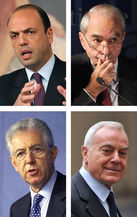 Les candidats: Domenico Alfano, Giulio Amato, Mario Monti et Gianni Letta