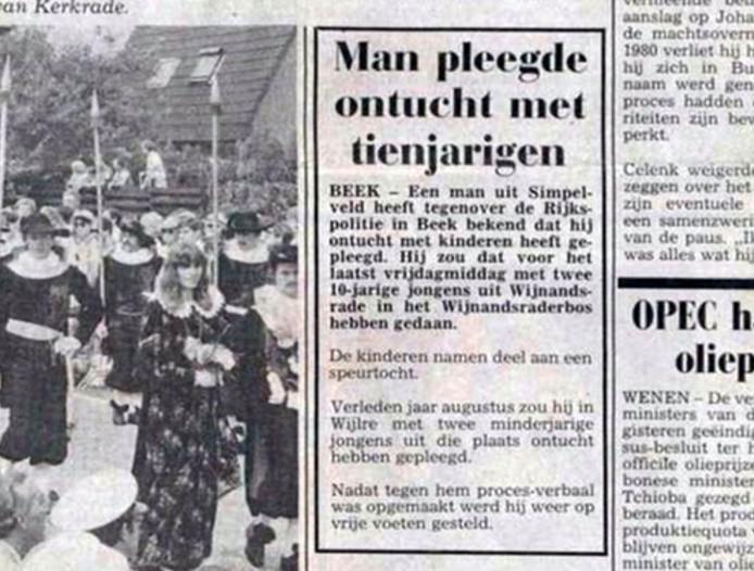 Het oude krantenbericht met de twee ontuchtzaken.