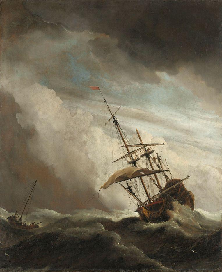 Op de reis naar Indië verging de Rooswijk al voor de kust van Engeland, net als dit door zeeschilder Willem van de Velde vastgelegde oorlogsschip. Olieverf, circa 1680. Beeld Rijksmuseum
