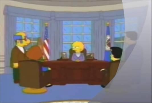 President Lisa Simpson in het Oval Office.
