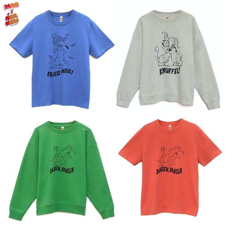 De collectie is verkrijgbaar in vier kleuren en met drie verschillende opdrukken Beeld