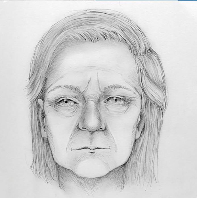 De post mortem tekening die moest helpen bij het identificeren van de onbekende vrouw.