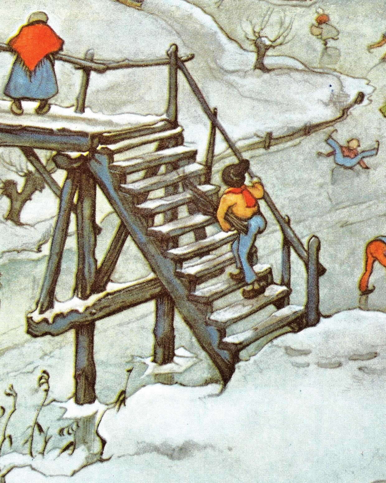 Detail uit IJstafereel, arrenslee onder houten brug, 1969, aquarel, 15 x 21,5 cm, kalenderplaat voor de maand januari van Anton Pieck. Beeld Anton Pieck, licensed by Orange Licensing BV