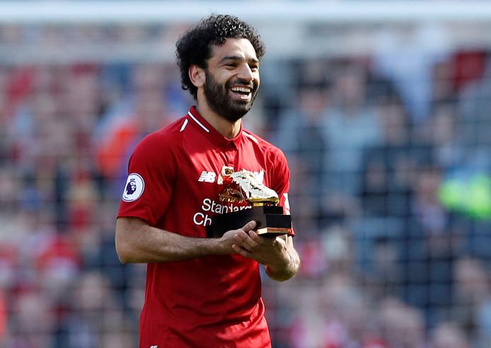 Mohamed Salah met zijn gouden schoen als topscorer van de Premier League.