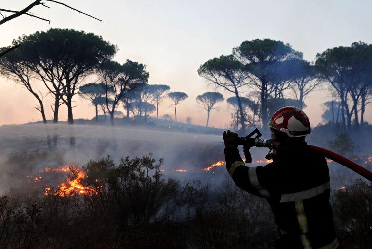 Een brandweerman bij Cannet des Maures, in het zuiden van Frankrijk.  Beeld EPA