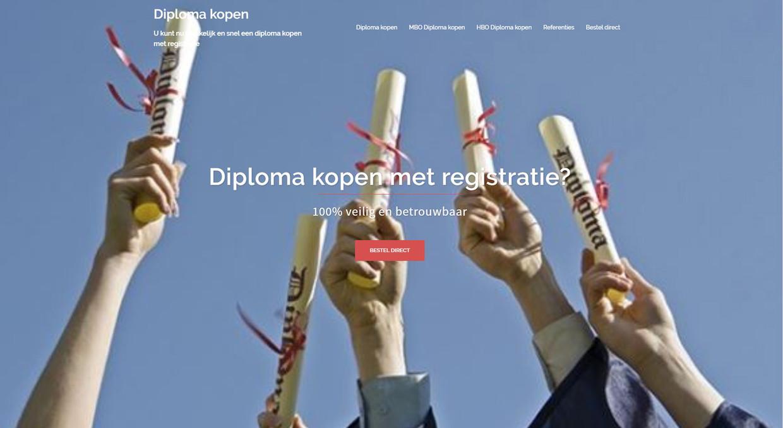 Een websites waar je een diploma kunt kopen. '100 procent veilig.' Beeld