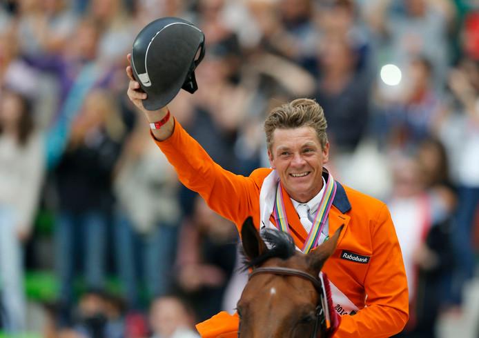 Jeroen Dubbeldam won in 2014 individueel goud op de Wereldruiterspelen in Normandië. Archieffoto Regis Duvignau/Reuters