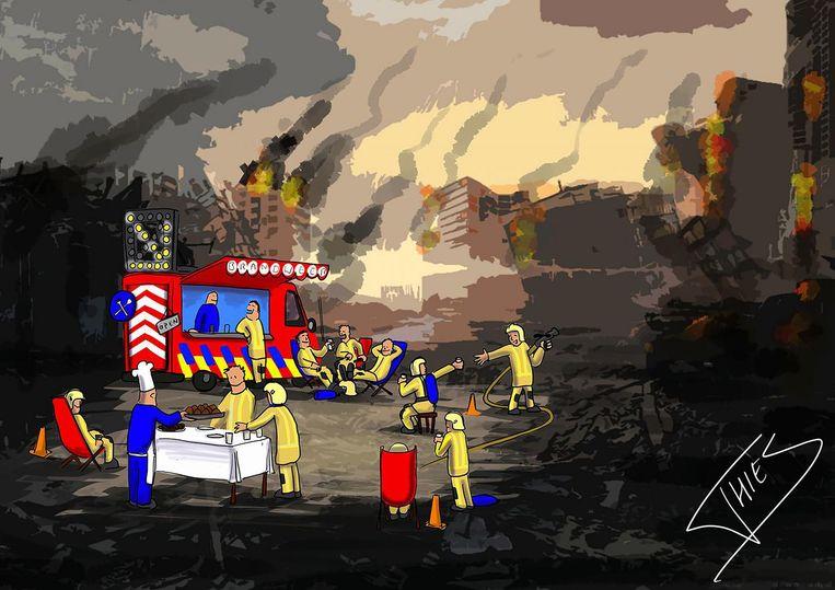 Thies, brandweerman en huiscartoonist van de zone Vlaams-Brabant West, liet zich al inspireren door de REHAB-wagen.