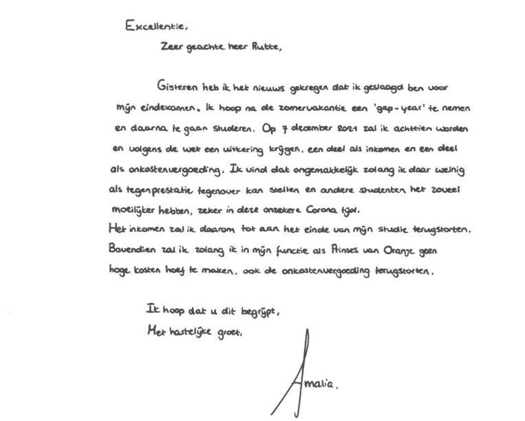 De brief van Amalia aan premier Rutte. Beeld Ministerie van Binnenlandse zaken en Koninkrijksrelaties