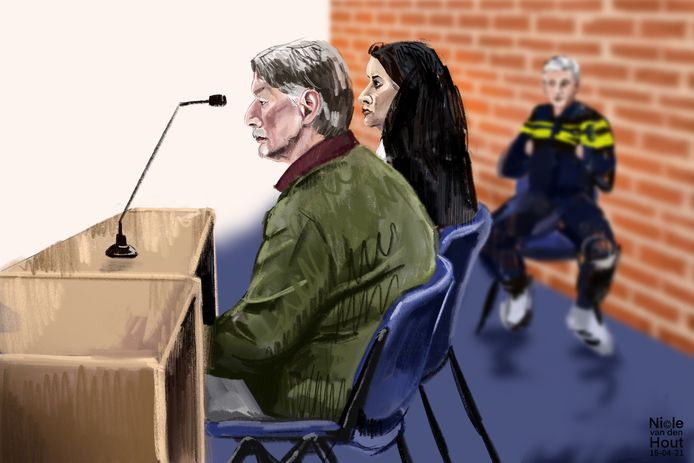 De 59-jarige Paul B. in de rechtbank van Dordrecht. Hij wordt verdachte van aanranding van drie jonge meisjes. In 2010 kreeg hij tien maanden cel en tbs met dwangverpleging voor eenzelfde misdrijf.
