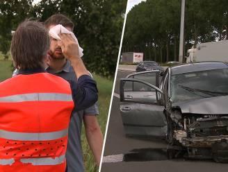 Luk Alloo helpt bestuurder na spectaculair ongeval