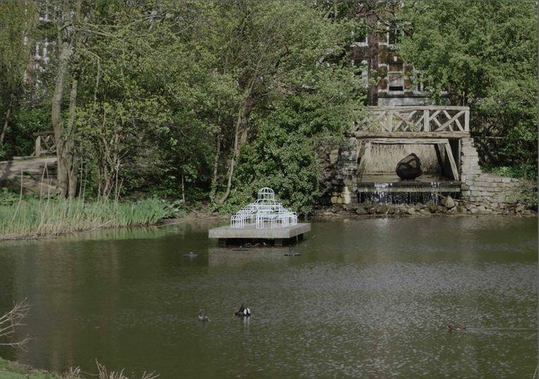 Ontwerp van het Paleisbeeld dat in het water bij het liefdesbruggetje in het Sarphatipark moet komen.   Beeld Marjet Wessels Boer