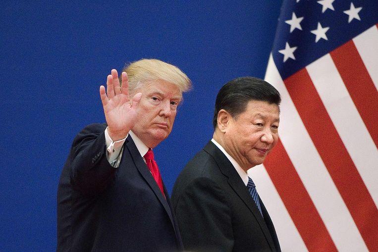Trump en de Chinese president Xi Jinping in 2017.  Beeld AFP