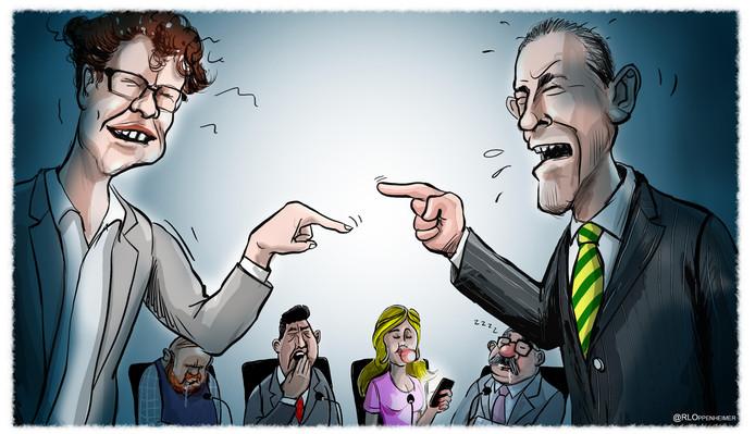 Martijn Balster (PvdA, l.) in debat met Arjen Dubbelaar (Groep de Mos). Dat kan wel even duren.