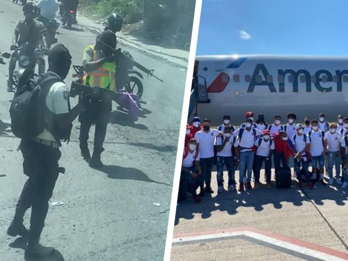 Links: een beeld van de opstandelingen dat de federatie van Belize deelde. Rechts: de nationale ploeg van Belize bij haar afreis.