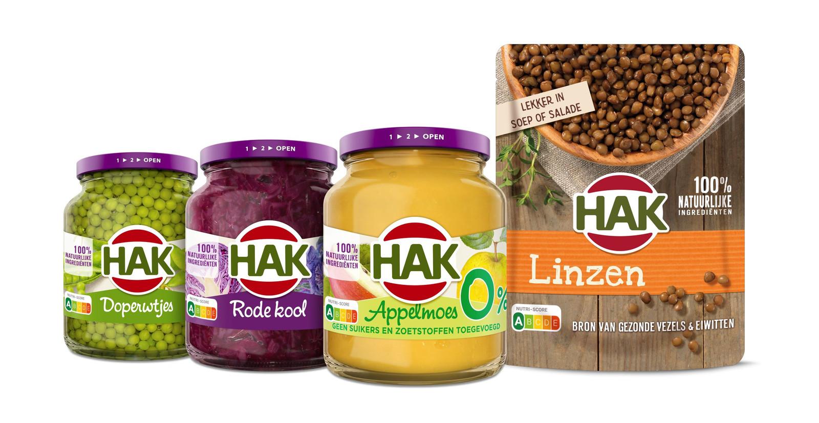 HAK-producten met het nieuwe voedselkeuzelogo.