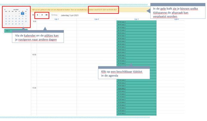 In de kalender kan je op zoek naar een nieuw vrij vaccinatiemoment.