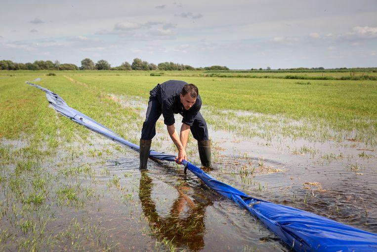 Boer Jan Brouwer bestrijdt de veldmuizen op zijn land met water. Veel water.  Beeld Herman Engbers