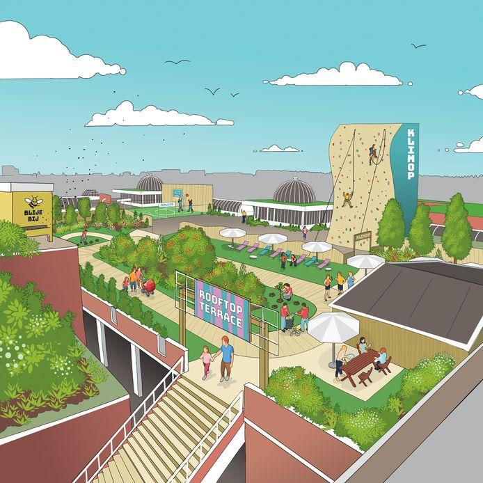 Een schets van hoe het dak van de Aarhof eruit zou kunnen zien. Deze is echter niet van nieuwe eigenaar HAL, maar van twee bureaus die onlangs een visie presenteerden voor een vitaler Alphens stadshart.