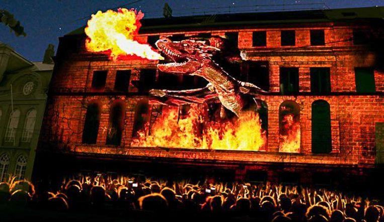 Op het Laurentplein zal een 3D-draak vuur spuwen.