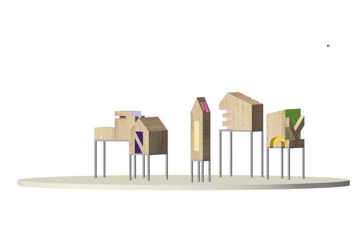 Schets van de huisjes voor een gedenktuin voor kinderen in Rotterdam.