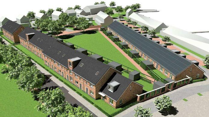 Een artist's impression van de nieuwe huizen langs de Otto van Reesweg (links) en gelddijk in Culemborg.