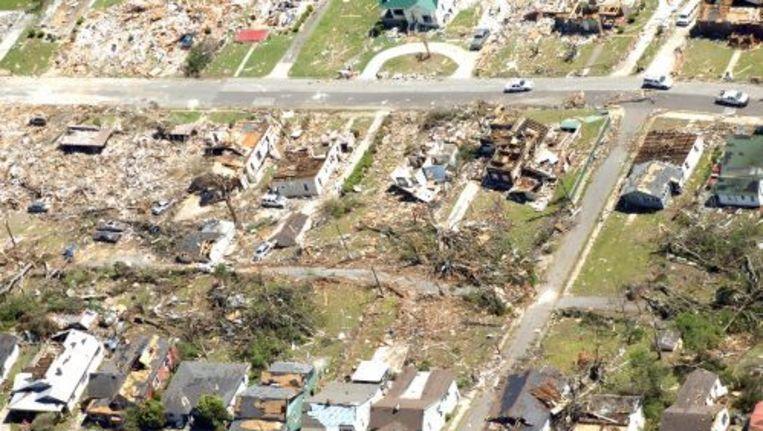 Verwoesting van de tornado's in de Verenigde Staten. Foto: epa Beeld