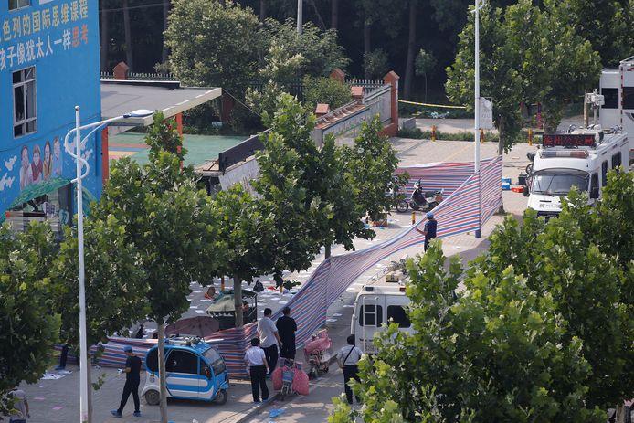 De plek des onheils werd meteen omheind door de politie.
