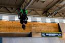 Kevin van Ekert tijdens de Wheelchair Challenge in  Area 51 op Strijp-S in Eindhoven.