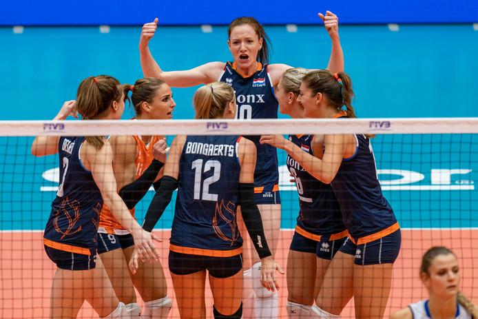 De Nederlandse volleybalsters tijdens het OKT, eerder dit jaar,