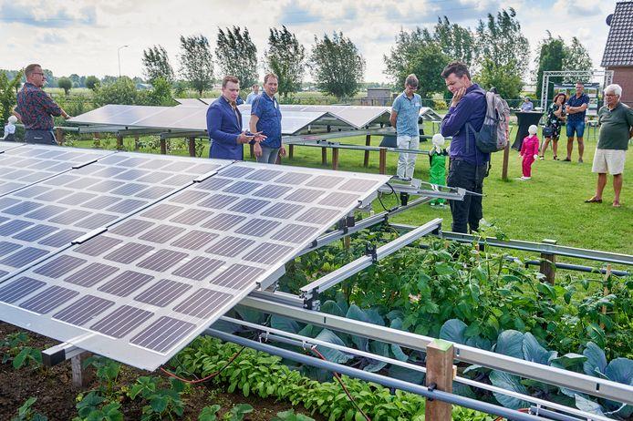 Tijdens een open dag dit voorjaar toonden Patrick Bekkers en zijn collega's verschillende systemen van mobiele zonnepanelen in combinatie met groenteteelt.