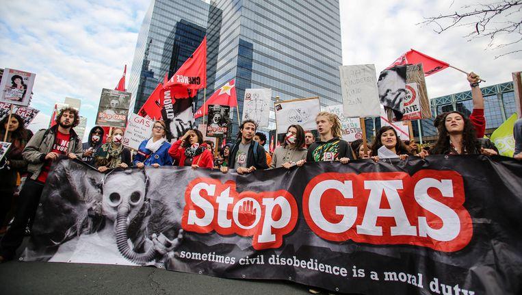 Jongeren betoogden vorige maand nog in Brussel tegen de uitbreiding van de GAS-boetes. Beeld BELGA