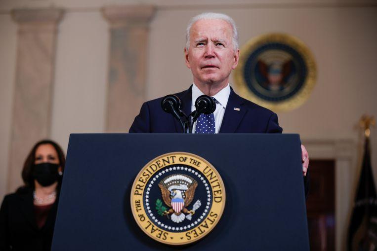 De Amerikaanse president Biden spreekt de natie toe na het vonnis in de zaak tegen ex-agent Derek Chauvin. Beeld REUTERS