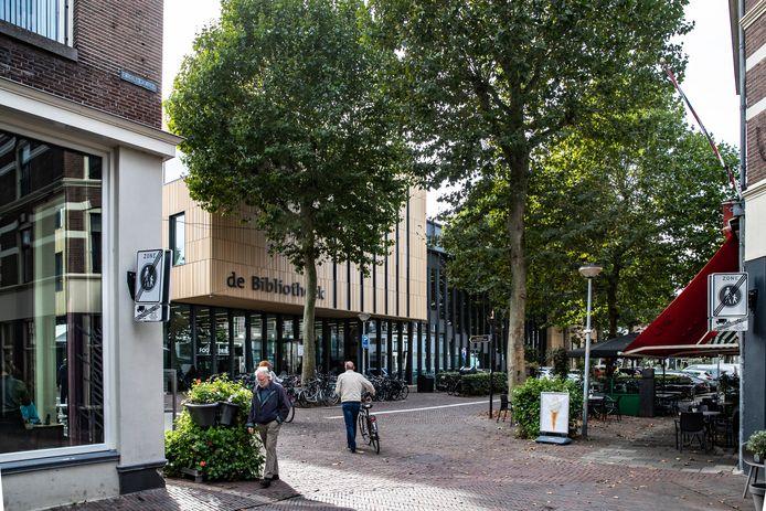 De plataan voor de entree van de bibliotheek is een van de bomen die moet wijken.