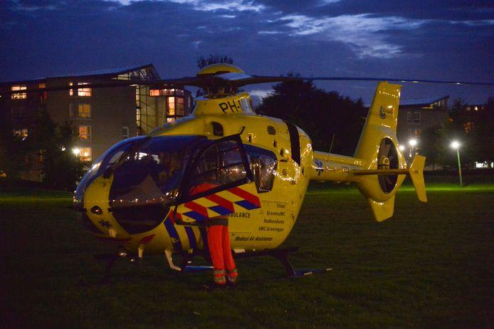 Een traumahelikopter kwam naar de plek van het ongeluk in Etten-Leur