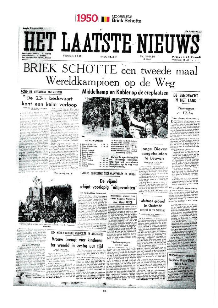 De voorpagina van 'Het Laatste Nieuws' na de wereldtitel van Briek Schotte in 1950.
