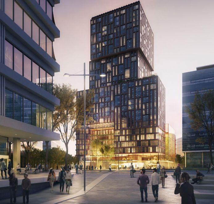 In de 90 meter hoge Galaxytower komen een hotel, appartementen en een parkeergarage.