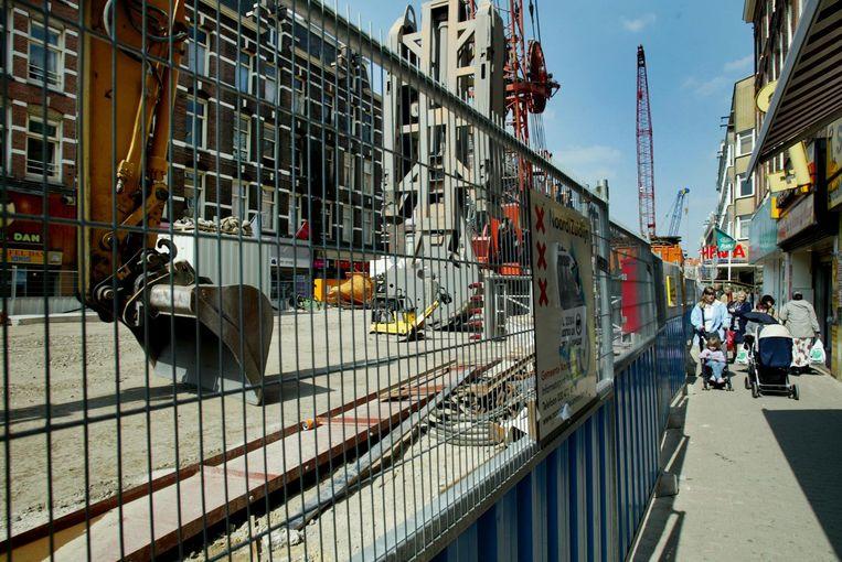 Aanleg Noord/Zuidlijn 2004) in Ferdinand Bolstraat Beeld anp
