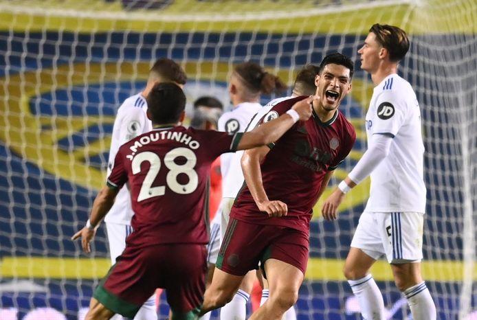 Raul Jimenez viert feest na zijn goal voor Wolves.