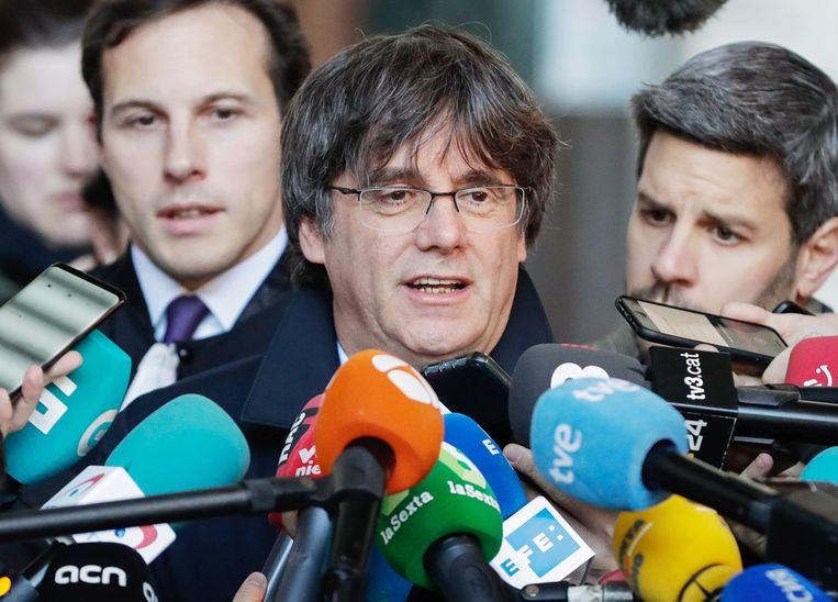 Carles Puigdemont voor de rechtbank in Brussel in oktober.
