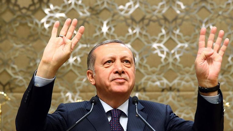Erdogan woensdag tijdens de bijeenkomst in Ankara. Beeld AP