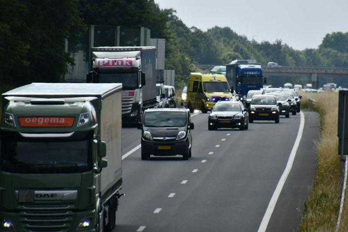 De file op de A35 bij Enschede